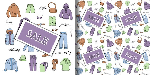 Set di scarabocchi disegnati a mano e motivo senza cuciture con vestiti da ragazzo. carta da parati ripetuta di vendita di contorno