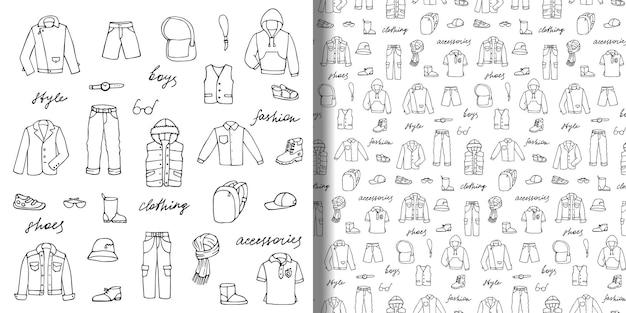 Set di scarabocchi disegnati a mano e motivo senza cuciture con vestiti e scritte per ragazzi infantili