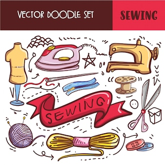 Insieme dell'icona di cucito di doodle disegnato a mano Vettore Premium
