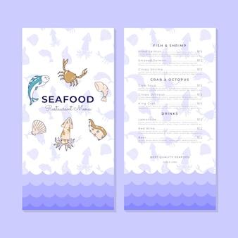 Modello di menu di frutti di mare semplice doodle disegnato a mano