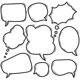 Bolla di discorso di doodle disegnato a mano