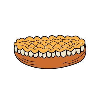 Icona del ringraziamento doodle disegnato a mano - torta di mele crosta superiore tradizionale reticolo isolato su priorità bassa bianca. illustrazione vettoriale