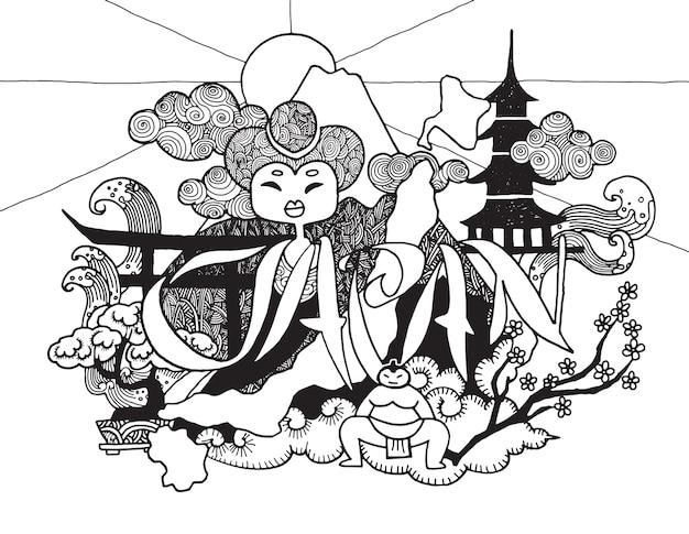 Doodle disegnato a mano un tema del viaggio in giappone