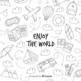 Fondo di viaggio di doodle disegnato a mano