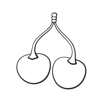 Ciliegie gemelle di doodle disegnato a mano con il gambo illustrazione vettoriale di schizzo del fumetto