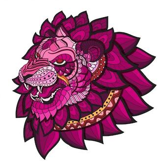 Doodle disegnato a mano zentangle lion illustrazione-vettore.