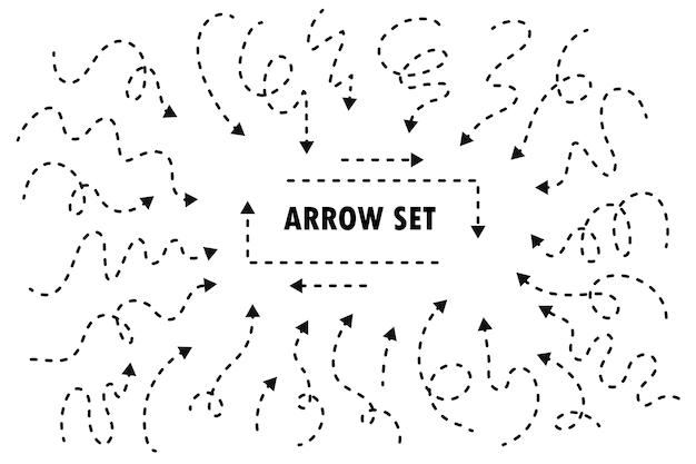 Insieme della freccia linea tratteggiata disegnata a mano. isolato su sfondo bianco