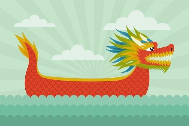 Fondo disegnato a mano della barca del drago