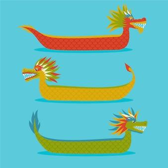 Collezione di dragon boat disegnata a mano