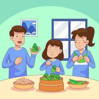 Famiglia disegnata a mano della barca del drago che prepara e che mangia l'illustrazione di zongzi