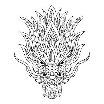 Disegnato a mano della testa di drago in stile zentangle