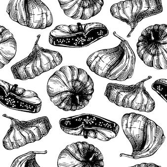 Modello senza cuciture di schizzi di frutta secca disegnata a mano. sfondo di fichi disidratati stile inciso. illustrazione realistica dei dolci orientali. sfondo di fichi secchi per carta da imballaggio o imballaggi