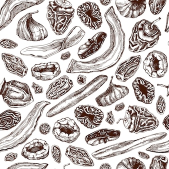Sfondo di frutta secca e bacche disegnati a mano. modello senza cuciture di frutta disidratata vintage. delizioso dessert sano. confezionamento di alimenti e snack vegani.
