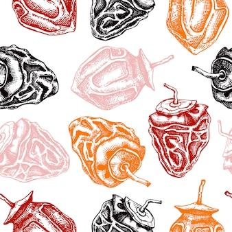 Modello senza cuciture di frutti di cachi secchi disegnati a mano. sfondo vintage cachi disidratati. dessert sano inciso. per snack biologici o elementi di menu di alimenti dietetici.