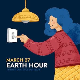 Donna di ora della terra disegnata a mano con i capelli blu