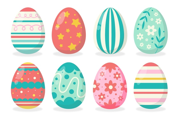 Insieme disegnato a mano dell'uovo di giorno di pasqua