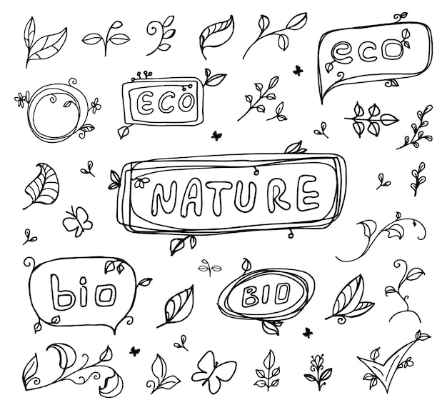 Schizzo di ecologia eco bio disegnato a mano