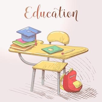 Concetto di educazione disegnata a mano con scrivania e libri