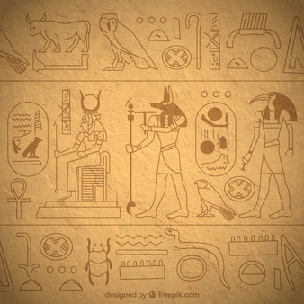 Priorità bassa di geroglifici egiziani disegnati a mano