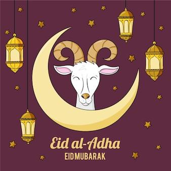 Illustrazione disegnata a mano di eid al-adha