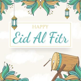 Sfondo di eid al fitr disegnato a mano con ornamento islamico