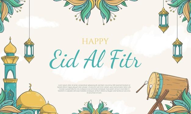 Bandiera di eid al fitr disegnata a mano con l'illustrazione dell'ornamento islamico