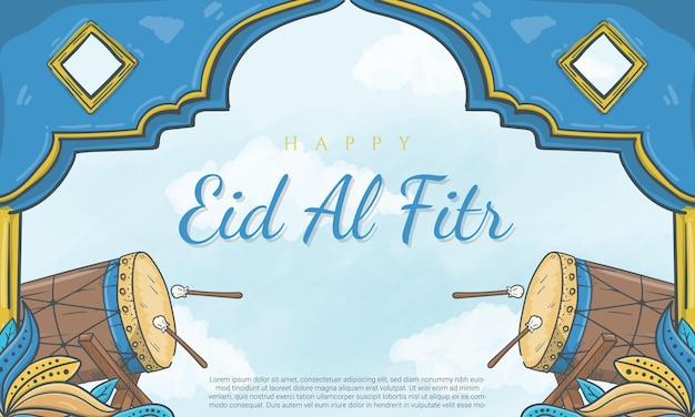 Cartolina d'auguri di eid al fitr disegnata a mano con l'illustrazione dell'ornamento islamico