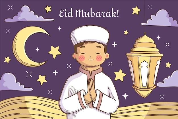 Illustrazione disegnata a mano di eid al-fitr Vettore Premium