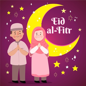Illustrazione disegnata a mano di eid al-fitr
