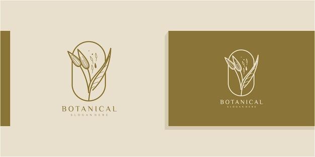 Elegante logo floreale di ginkgo biloba disegnato a mano con tageline