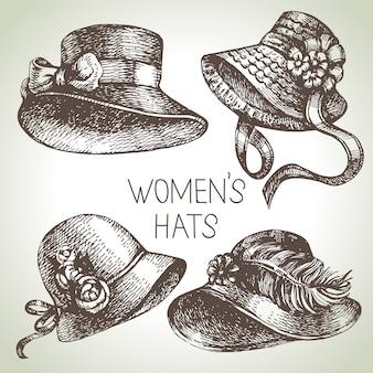 Set da donna vintage elegante disegnato a mano. cappelli da donna di schizzo. illustrazione di moda retrò