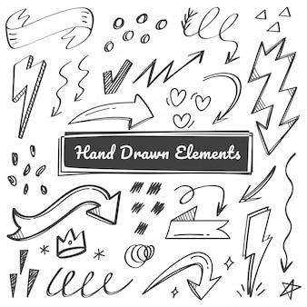 Elementi disegnati a mano, freccia, scarabocchi swish