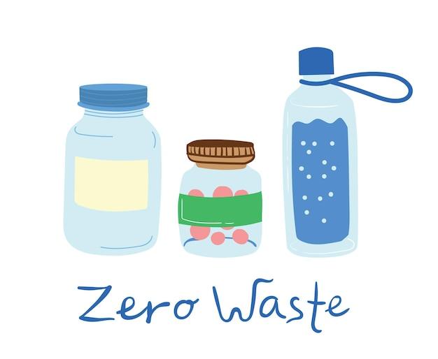 Elementi disegnati a mano di zero rifiuti vita nel vettore. stile ecologico. niente plastica. vai verde in stile piatto