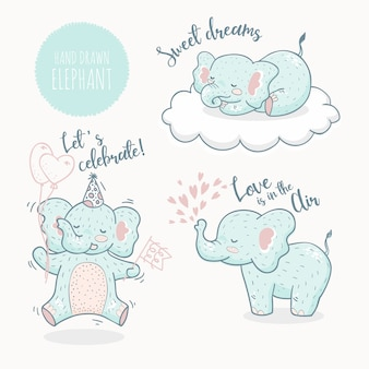 Collezione di animali elefante disegnati a mano