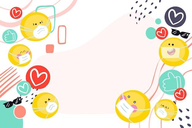 Emoji disegnate a mano con carta da parati con maschera facciale