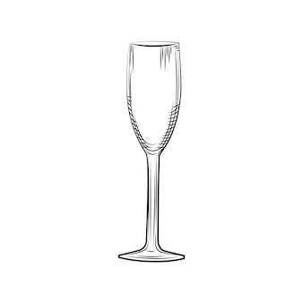 Schizzo di bicchiere di champagne vuoto disegnato a mano. stile di incisione. illustrazione vettoriale isolato su sfondo bianco.