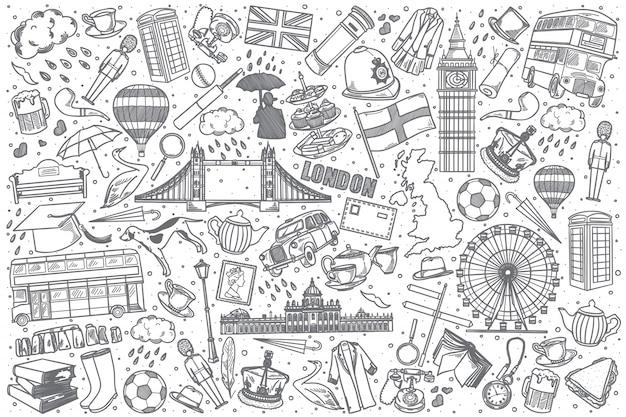 Insieme di doodle di inghilterra disegnata a mano