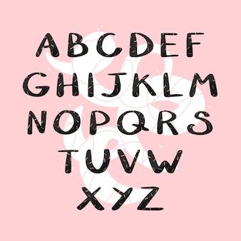 Alfabeto inglese disegnato a mano isolato su sfondo astratto utilizzare per la costruzione di frasi vector