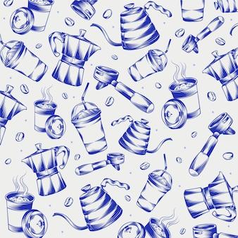 Scarabocchi di caffetteria incisi disegnati a mano