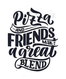 Preventivo disegnato a mano sulla pizza. menu design tipografico.