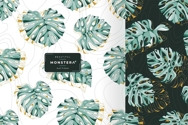 Modello di foglie di monstera esotico disegnato a mano