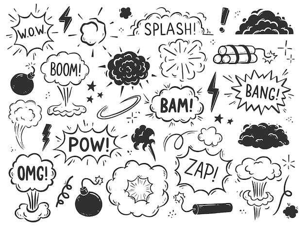 Elemento bomba esplosione disegnata a mano