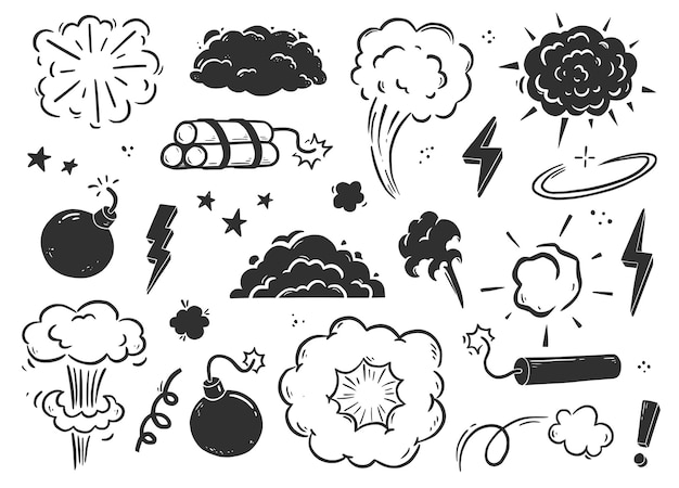 Fumo di bomba esplosione disegnata a mano