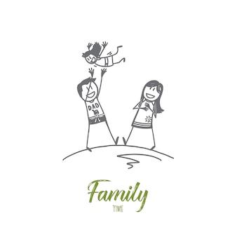 Schizzo di concetto di tempo della famiglia disegnato a mano
