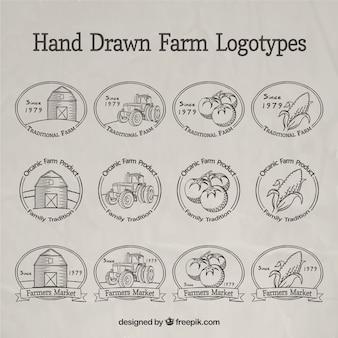 Disegnati a mano logotipi agricoli