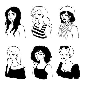 Ragazza di classe moda disegnata a mano