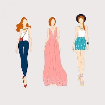 Modelli di moda disegnati a mano