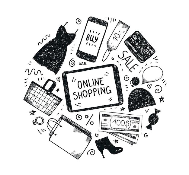 Set di icone del negozio online di moda disegnata a mano. carrello, vestito, pc, soldi, carta di credito, scarpe, borsa della spesa, cellulare, servizio di tag online