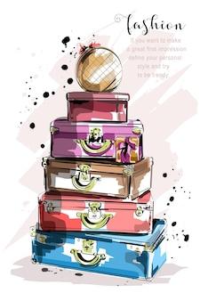 Insieme di moda disegnato a mano con valigie e borse