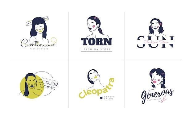Insieme di modelli di logo donna moda disegnata a mano. illustrazione di vettore di stile di doodle.